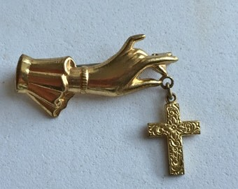 Vintage Gold Hand Brooch with Cross
