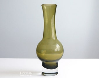 Vintage Riihimaki Olive Green Glass Vase by Aimo Okkolin