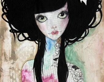 Giclee Fine Art Archival Print ~ Oriental Doll ~ Mixed Media Art ~ By Kim Costello