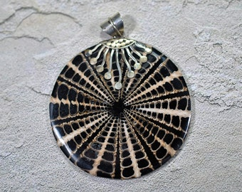 Shell and resin pendant with Sterling bail, 56mm #513