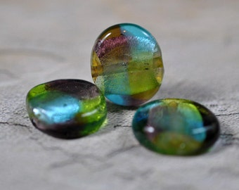 Multicolor glass beads, drilled, 15mm, #265