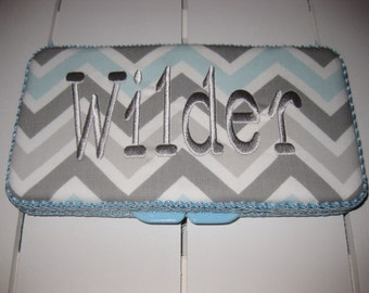 Travel Baby Wipe Case - Blue Gray Chevron - Personalization Available