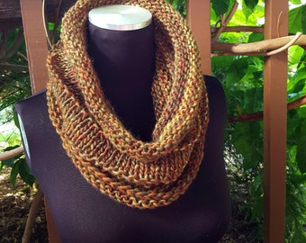 Hand Knit Infinity Cowl Scarf in Earthy Shades