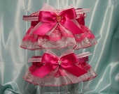 Fuchsia and Pink Sparkling Garter Set