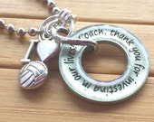 Volleyball Coach gift pendant ...thank you for investing in our lives... word quote phrase pendant silver washer necklace with chain