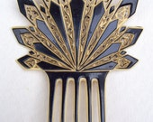 Art Deco hair comb black and white Spanish style comb hair accessory hair pin headpiece headdress