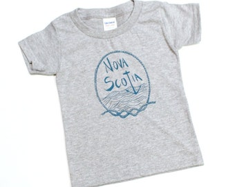 Nova Scotia Toddler Kids T-Shirt Grey gender neutral boys or girls