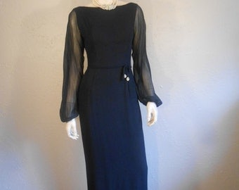 Sultry Sultress - Vintage 1950s Navy Chiffon Long Cocktail Evening Gown Dress Black Tie  - 4/6