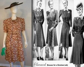Summer Affair - Vintage 1930s Charmode Cinnamon Brown Floral Dress w/Matching Belt Bolero Jacket  - 14/16