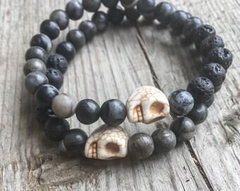 Mens Skull Bead Essential Oil Diffusing Bracelet - Skull Bracelet - Diffusing Lava Rock - Stackable Beaded Stretch Bracelet