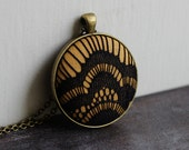 Mustard Yellow Pendant With Lace, Unique Necklace for Women, Black Goth Jewelry, Geometric Necklace, Art Deco, Eclectic