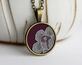 Purple and Gray Lace Necklace, Boho Tiny Pendant, Purple and Gold Jewelry, Fabric and Lace Pendant, Mini, Cute Necklace, Retro, Eclectic