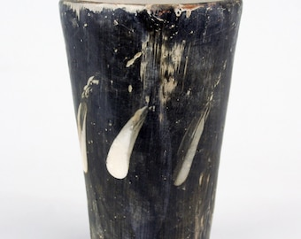 Tall Black Cup with White Slashes