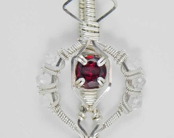 Garnet and Rainbow Moonstone Argentium Sterling Silver Wire Wrap Pendant