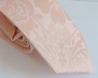 Tone on Tone Floral Stamped Blush Satin Necktie