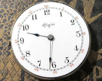 Pocket Watch VINTAGE Pocket Watch Parts Porcelain FACE Jewels Guts Mechanical Movements Plates Gears Watch Repair Jewelry Supplies (G124)
