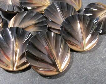 Czech Glass Buttons Black Gold Luster 31mm VINTAGE Czech Buttons Eleven (11) Czech Glass Vintage Buttons Wedding Jewelry Supplies (F179)