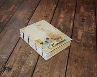 Wedding Guest Book,  Butterfly Journal, Memory Album, Scrapbook, Coptic bound book, Handmade gift