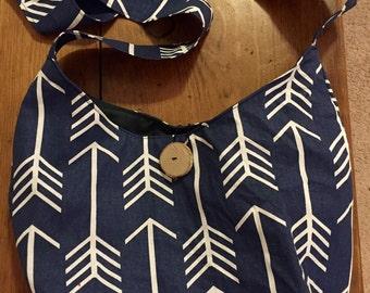 Blue arrow crossbody satchel