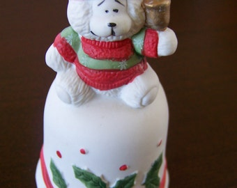 Vintage Ceramic Bell - 1980s Collectible House of Lloyd Snow Bear Figurine - Seasonal/Winter/Christmas Decor - Hand Painted - 4 1/2 inches