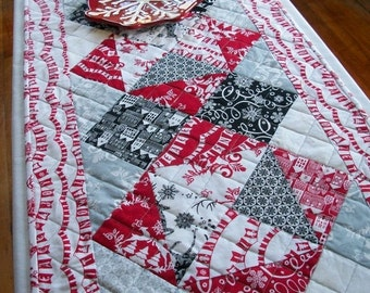 CIJ SALE Cheerful Winter Table Runner Quilted Black White Red Gray Snow Quiltsy Handmade FREE U.S. Shipping
