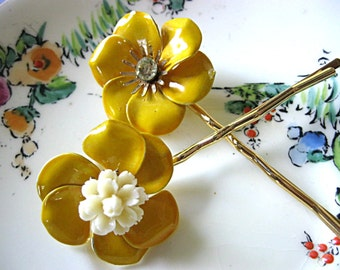 Yellow flower hair pins, vintage earring hair pins, wedding hair pins, vintage bobby pins, bridal hair pins, upcycled vintage, Lily Whitepad