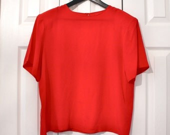 Red Silk Blouse / Boxy Top