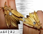 Vintage Gold Tone Fly Ring with Trembling Moving Wings set on an Adjustable Gold Plated Band