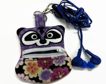 Raccoon Coin Pouch, Clip On Coin Pouch, Zippered Coin Purse, Raccoon Coin Purse, Keychain Coin Pouch, backpack, Ear-bud holder, First Aid