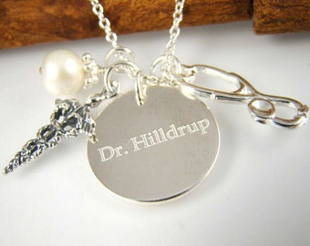 Personalized Doctor Necklace Stethoscope Charm Graduation Gift for Medical Student Medical Sign Medicine ALL STERLING SILVER