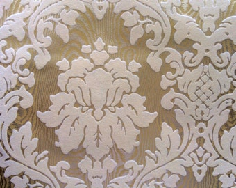 Vintage Wallpaper - Damask Cream Ivory Flock on Gold - 1970s - 1 Yard