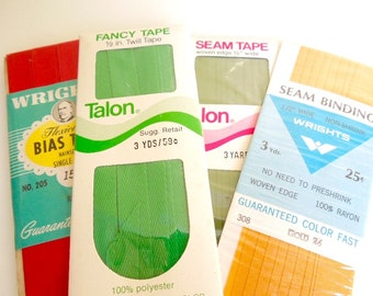 Vintage Seam Binding, Bias Tape, Seam Tape, NOS in Package, Lot of 4
