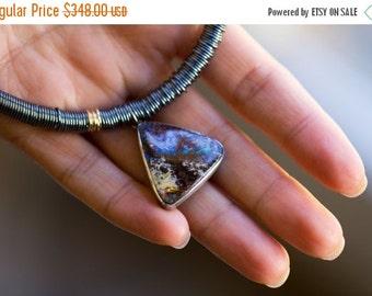 SUMMER SALE Australian Boulder Opal Necklace, 14k Gold, Sterling Silver Statement Necklace, Australian Opal Necklace - Keeper of Secrets