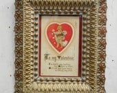 "Antique framed Valentine postcard ""I'm timid my darling but Cupid is Kind"" Love"