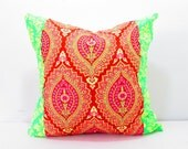 Boho Room Decor, Bohemian pillow cover, Bohemian room Decor, Pink, red, green pillowcase, decorative pillows, girls room decor, quilted