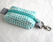 Boxy Little Pouch Key Chain, Split Key Ring - Turquoise Squared Elements
