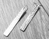 Hammered silver industrial bar earring Sterling silver dangle earrings silver drop earrings silver boho jewelry