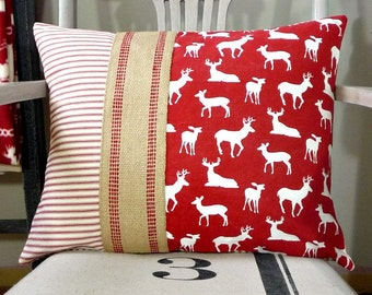 Red Pillow Cover - Red Deer Pillow -  Red and White Pillow Cover - Red Ticking Pillow - Jute Webbing - Cabin, Cottage, Farmhouse