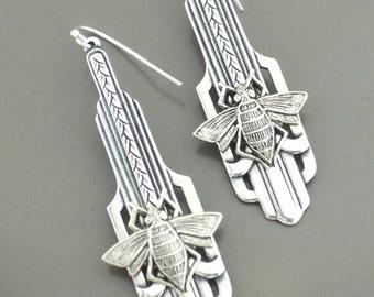 Art Deco Earrings - Honey Bee Earrings-  Silver Earrings - handmade jewelry