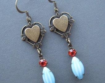 Heart Earrings - Heart Jewelry - Valentine Jewelry - Romantic Jewelry - Romantic Earrings - Rhinestone Earrings - Vintage Style Earrings