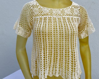 Vintage 70's hand crocheted top blouse sheer small in perfect condition sexy short by thekaliman