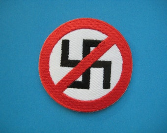 Iron-on Embroidered Patch Anti-Nazi Logo 2.5 inch