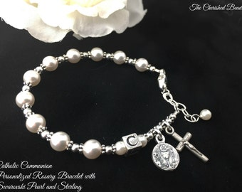 Catholic Communion Personalized Rosary Bracelet with Swarovski White Pearl and Sterling