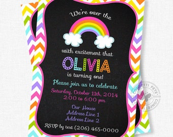 Rainbow Birthday Invitation, Chevron Birthday Invitation, Chalkboard Invitation, Rainbow Birthday Party