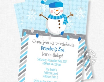 Snowman Birthday Invitation, Winter Birthday Invitation, Boy Birthday Invitation, Snowflake Invitation
