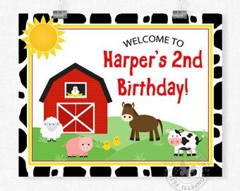Barnyard Welcome Sign, Farm Animals Birthday Sign, Barnyard Birthday Decorations, Cow Print Door Sign, Printable 8x10 Sign