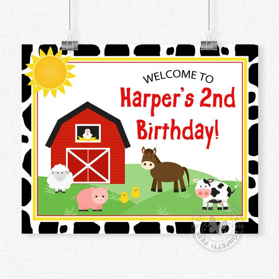 Barnyard Welcome Sign Farm Animals Birthday Sign Barnyard