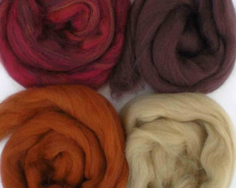 "Merino Wool for Wet Felting or Spinning   2oz. Pack of Assorted Colors ""Painted Desert"""