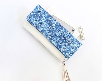 Fold Over Clutch, Foldover Clutch, Blue Mosaic and White Evening Clutch, Folded Handbag
