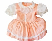 BLOWOUT 40% off sale Vintage 40s Little Girl's Peach Smock Cotton Dress - 18 to 24 Months